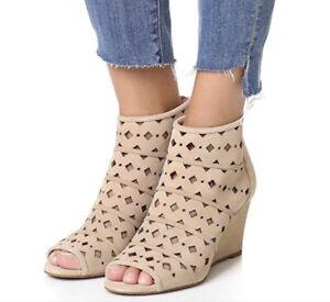 Michael Kors Uma Suede Leather Peep Toe Wedge Sandals Heels Shoes Bisque Tan 8