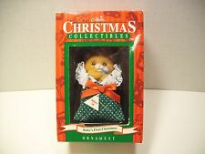 Babys First Christmas Ornament Gibbson Collectable 1995 Vintage Bear with Rattle