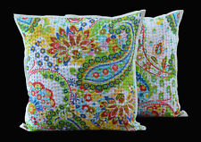 "PAISELY PRINT COTTON CUSHION COVER INDIAN HANDMADE KANTHA WORK 16X16"" SET OF 2"