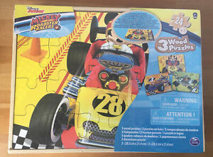Disney Junior Mickey Mouse And The Roadster Racers Set of 3 Wooden Puzzles - New