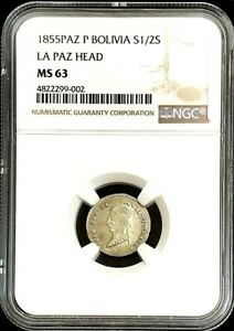 1855 PAZ P SILVER BOLIVIA 1/2 SOL UGLY HEAD COIN NGC MINT STATE 63 LA PAZ MINT