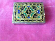 UNMARKED STERLING SILVER AND ENAMEL PILL BOX POSSIBLY RUSSIAN