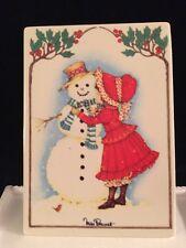 Villeroy Boch VILBO Card SNOWMAN Miss Petticoat Porcelain Art WEST GERMANY