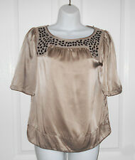 Monsoon 100% Silk Champagne Gold Sequin Boxy Top Size 8