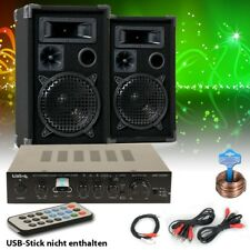 DJ Party PA Musik Anlage USB MP3 Bluetooth Receiver Kompakt Boxen Anschlusskabel