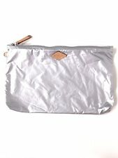 """MZ WALLACE Soft Large Pouch Cosmetic Makeup Bag Coin Purse 7.5""""x12.5"""" Silver"""