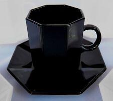 ARCOROC OCTIME BLACK DEMITASSE CUP & SAUCER OCTAGON