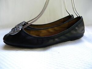 Tory Burch Reva Crystals Logo Ballerina Flats Black Leather Size 11