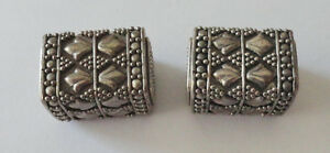 2 Large Bali Sterling Silver handcrafted Box Beads