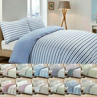 Cotton Rich Stripe Quilt Duvet Cover Bedding Set Single Double Super King Size