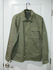 $255 HUDSON Paint Splattered Military Jacket In Army Paint Green M NWOT!