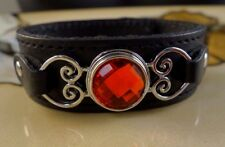 GARNET red January birthstone snap button black genuine leather bracelet