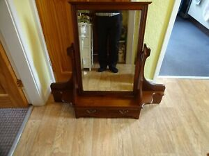 Antique Large Oak Dressing Table Top Swivel Vanity Mirror & Drawers 90x95x19 cm