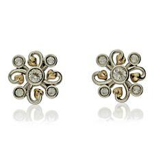 NEW CLOGAU WELSH GOLD & SILVER TOPAZ CLOVER EARRINGS. Design: 3SLKSE
