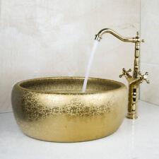 Round Gold Paint Ceramic Vessel Sink CounterTop Basin Bathroom Set Mixer Faucet