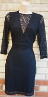 MISS SELFRIDGE BLACK LACE LONG SLEEVE SHEER BODYCON MINI PARTY TUBE DRESS 10 S
