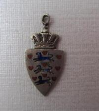 Vintage Sterling Silver & Enamel DENMARK DANMARK COAT of ARMS Shield BH Charm