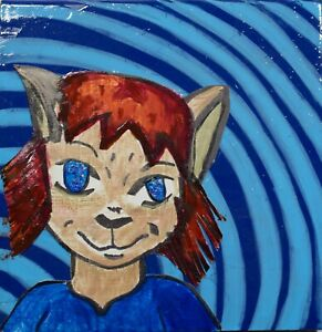 "New! mixed media art piece by MsMeowtakittyclaws ""You say grin, I say smirk"""