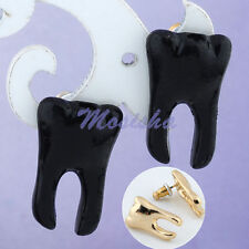 Pair Gold Tone Black Metal Cute Tooth Ear Stud Earrings Cusp Shape Punk Style