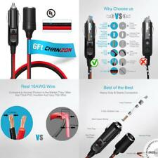 [Ul Wire]Chanzon Pure Copper 6Ft Cigarette Lighter Extension Cord 12V 16Awg Heav