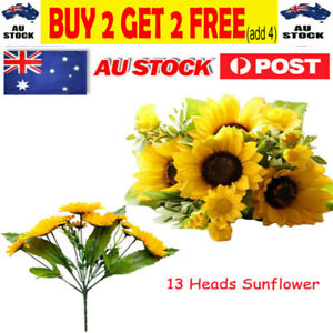 13 Heads Bouquet Fake Sunflower Artificial Silk Bunch Floral Flower Home DecorGR
