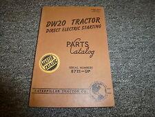 Caterpillar Cat DW20 Direct Electric Start Tractor Parts Catalog Manual 87E1-Up