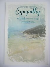 BEAUTIFUL COLOURFUL SHORELINE SCENE WITH DEEPEST SYMPATHY GREETING CARD