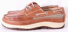 Chaps Schooner Lt Brown Leather Canvas Slip-On Cushioned Boat Shoe Men's US 8W