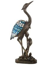 Victorian Trading Co Blue Heron Tiffany Style Stained Glass Table Lamp