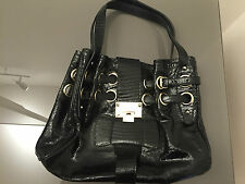 AUTH, New, Jimmy Choo Black Textured Patent Leather Ramona Handbag, RRP $2000