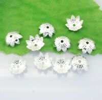 100pcs Silver plating Flower Loose Bead Caps Spacer DIY Jewelry Findings #HT203