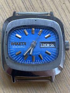 Vintage Soviet USSR Quartz resonator blue mens big Watch Raketa