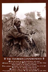 "Native American 10 Commandments poster 24 x 36"" Peace Pipe"