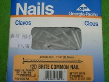 "5 Box 25lb 3-1/4"" 12D BRIGHT COMMON FRAMING HAND NAILS NAILING GEORGIA PACIFIC"