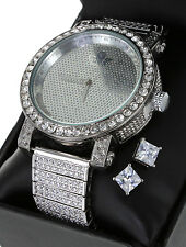 Mens 10K GP Lab Diamond Iced Out Diamond Maxx Watch Luxury + Stud Earring Set