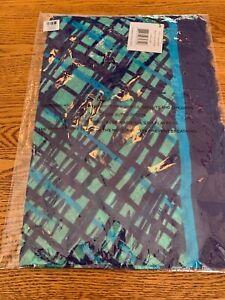 Vera Bradley SCARF SOFT FRINGE Navy Teal Art Plaid blue rayon lightweight NEW