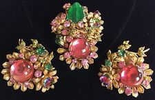 Rare Vintage Miriam Haskell Frank Hess Brooch Pin (Horseshoe Mark)& Earrings Set