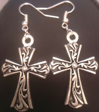 Cross earrings tibetan silver handmade