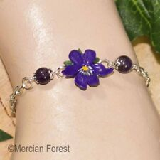 Violet Bracelet - Handmade Polymer Clay Jewellery - Summer Garden Flowers Pansy