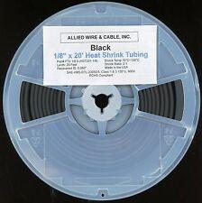 "1/8 IN x 20 FEET Black, Heat Shrink TUBE TUBING .125"" x 20'"