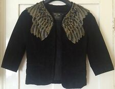 Kate Moss Topshop Black Wings Suede Jacket Size 10