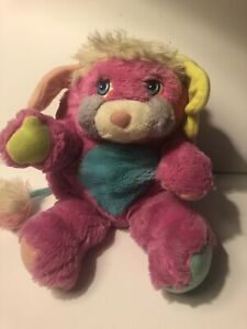Mattel PRIZE Hot Pink Blue Popple 1986 Reverse Plush Clean Nice Fur Green Ear