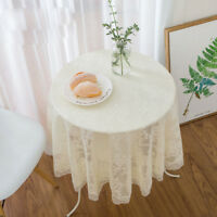 Round Lace Tablecloth Embroidered Floral Table Covers Semi Sheer Romantic Decor