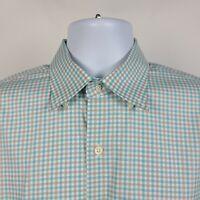 Peter Millar Mint Green Light Brown Check Mens Dress Button Shirt Size Medium M