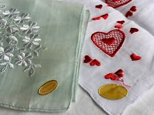 Vintage Ladies Handkerchiefs Hankies New with Tags Embroidered Floral Heart
