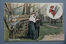 R&L Postcard: Welch Edwardian, Lady & Gent Poppy Consoling, Laguage of Flowers