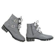 Flat Bikers Ankle Boots Lace Up Studded Buckle Ladies Boots Size 3-8