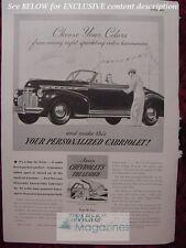 RARE Esquire Advertisement AD CHEVOLET Cabriolet Convertible 1941