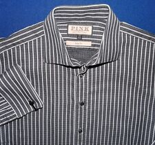 15.5 39 THOMAS PINK GREY BLACK HOUNDS TOOTH DAMASK STRIPED FRENCH CUFF MEN SHIRT
