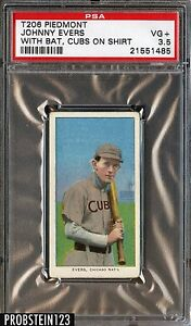 "T206 Johnny Evers HOF w/ "" Rare Unique Printing Error on Reverse "" PSA 3.5"